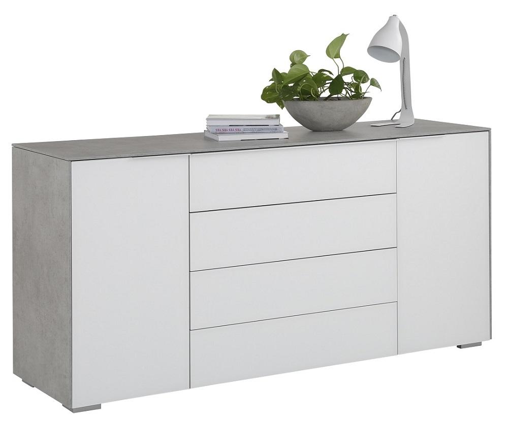 Bermeo tv meubel dressoir Best 160 cm breed Grijs beton met wit