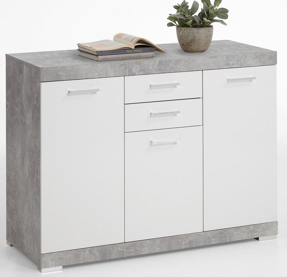 Dressoir Bristol 3 XL van 120 cm breed in grijs beton met wit