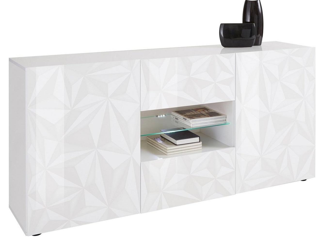 Dressoir Kristal 181 cm breed in hoogglans wit