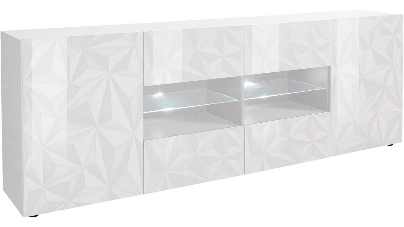 Dressoir Kristal 241 cm breed in hoogglans wit