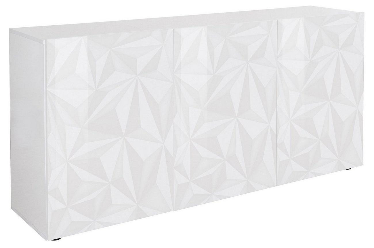 Dressoir Kristal met 3 deuren 181 cm breed in hoogglans wit