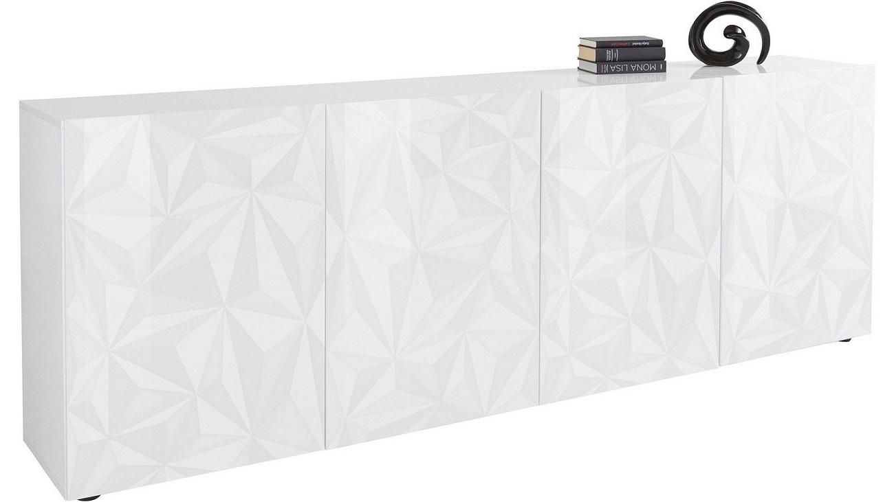 Dressoir Kristal met 4 deuren 241 cm breed in hoogglans wit