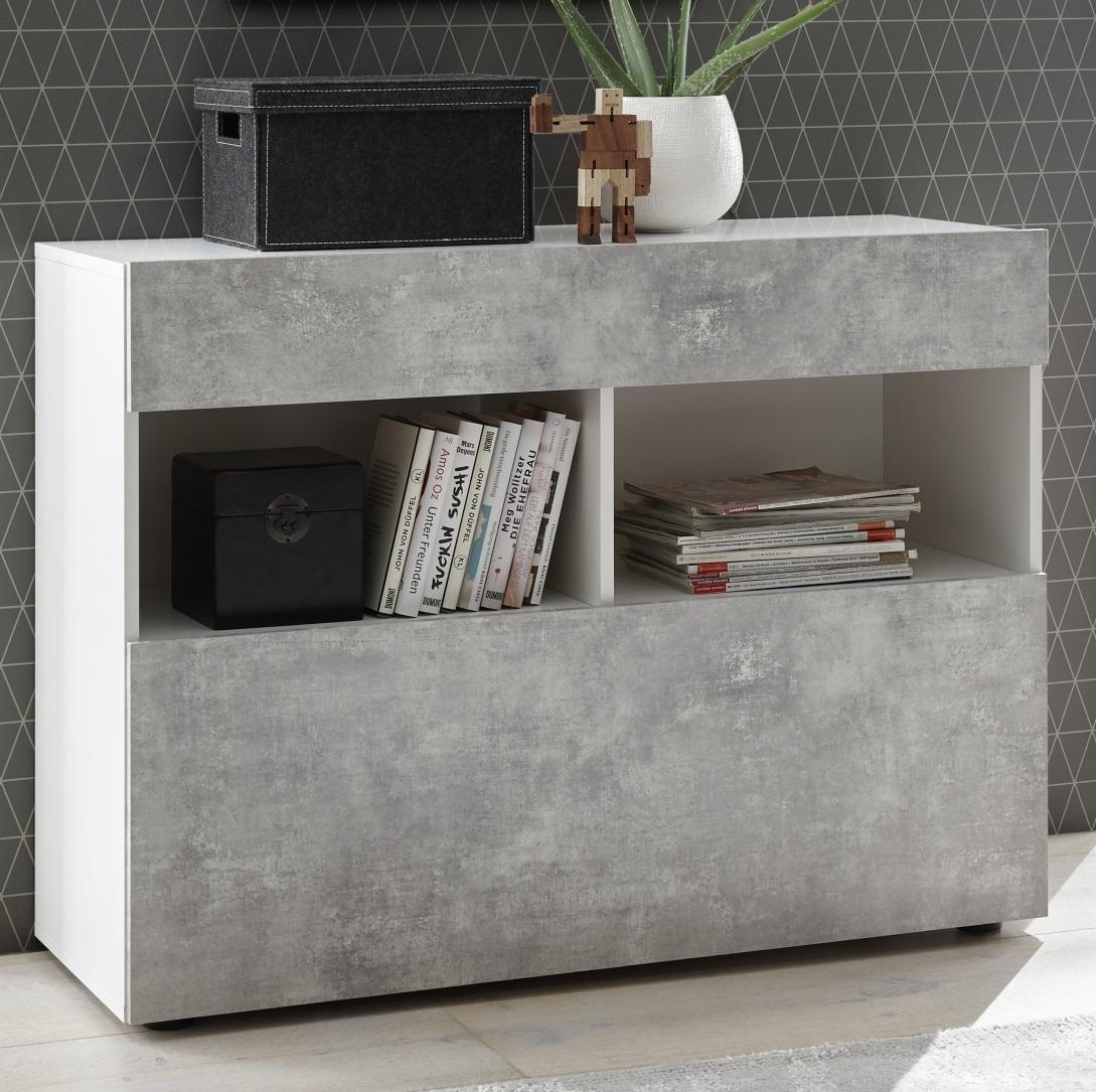 Dressoir Markis 111 cm breed in wit met grijs beton