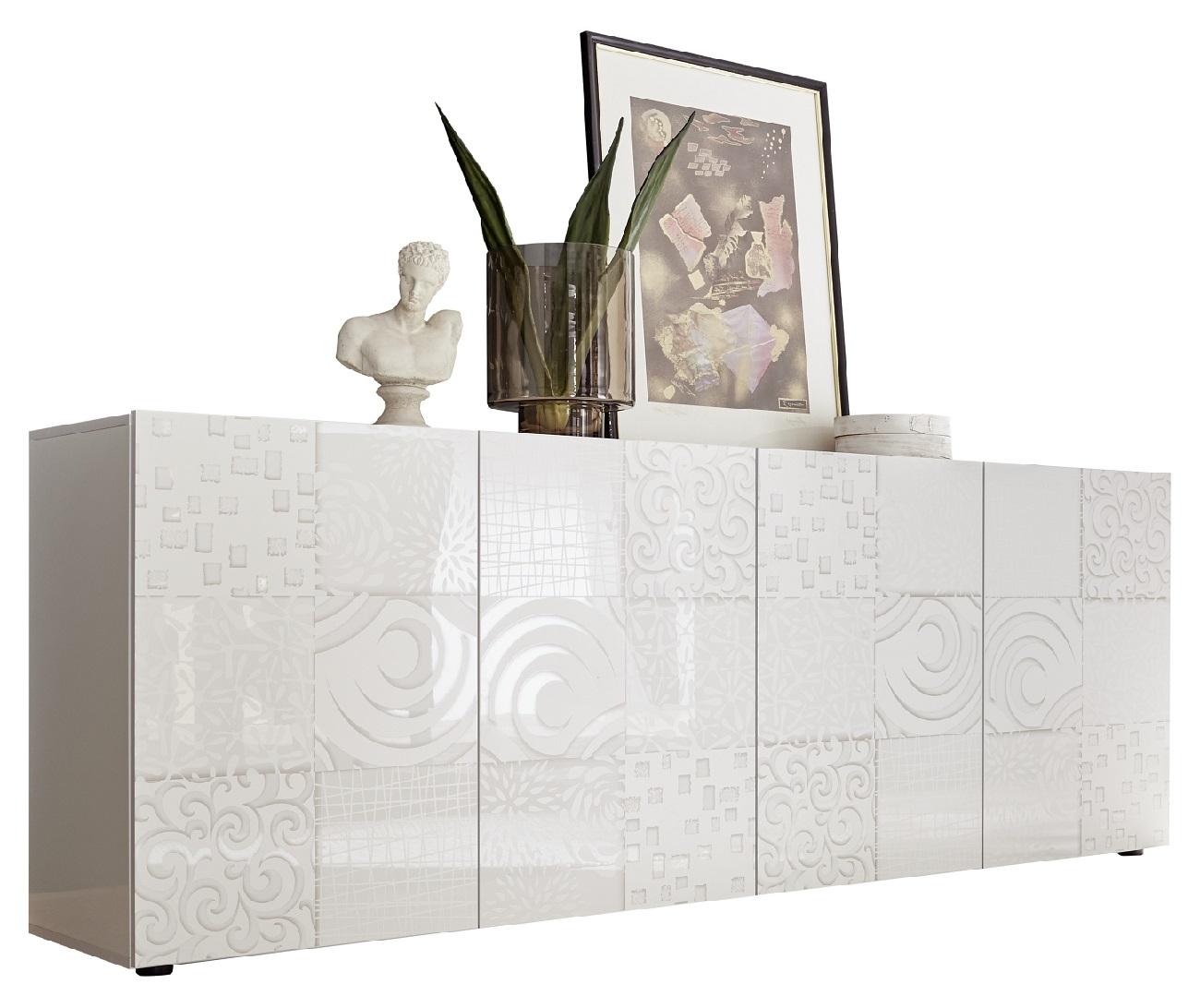 Dressoir Miro met 4 deuren 241 cm breed in hoogglans wit