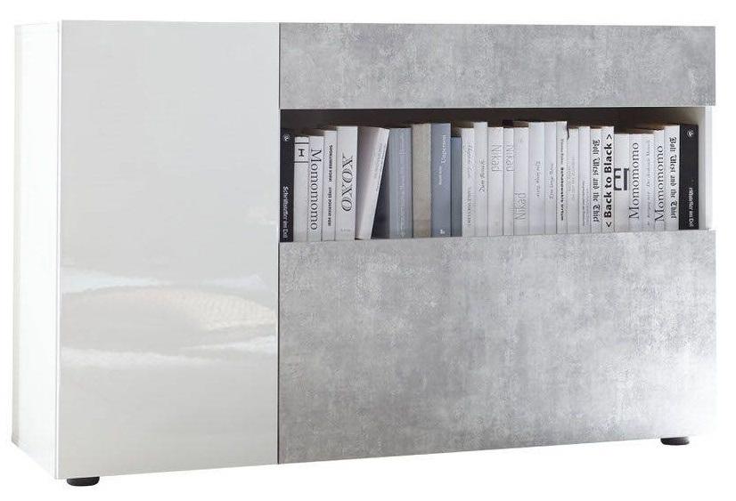 Dressoir Ramon 130 cm breed in hoogglans wit met grijs beton