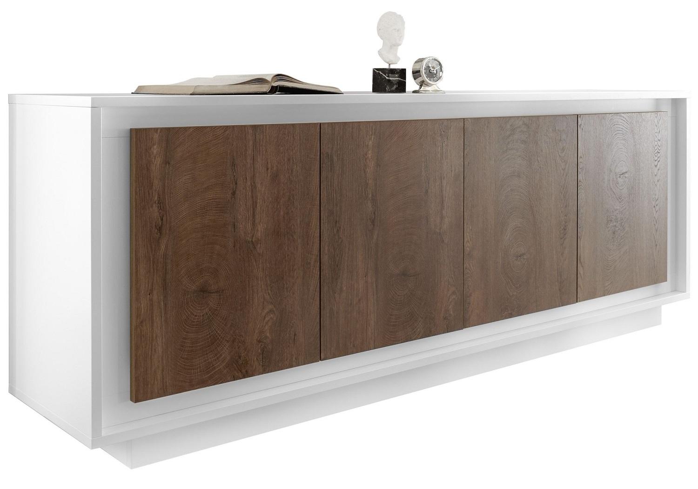 Pesaro Mobilia tv meubel dressoir SKY 207 cm breed Wit met Cognac bruin