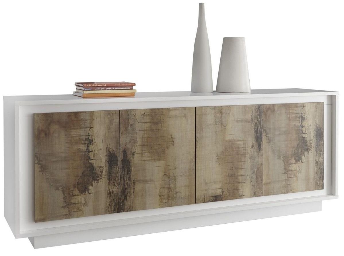 goedkope dressoir SKY 207 cm breed Wit met Eiken Pesaro Mobilia