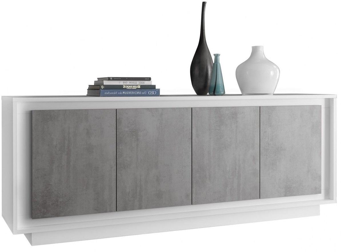 goedkope dressoir SKY 207 cm breed Wit met Grijs beton Pesaro Mobilia