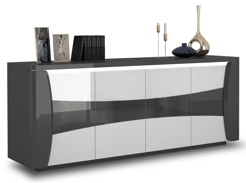 Dressoir Tiago 220 cm breed in hoogglans antraciet met wit