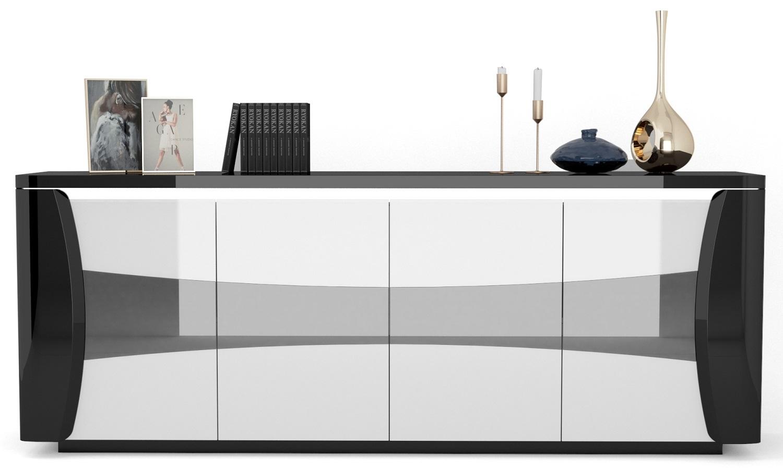 Dressoir Tiago 220 cm breed in hoogglans zwart met wit