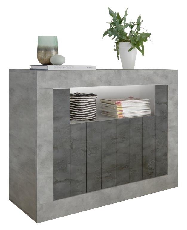 Dressoir Urbino 110 cm breed in grijs beton met oxid