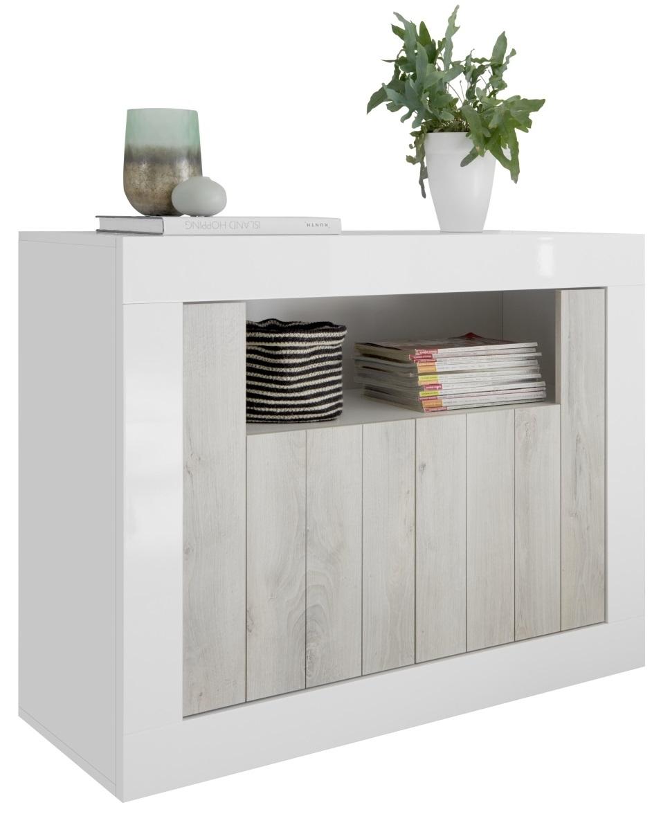 Dressoir Urbino 110 cm breed in hoogglans wit met grenen wit