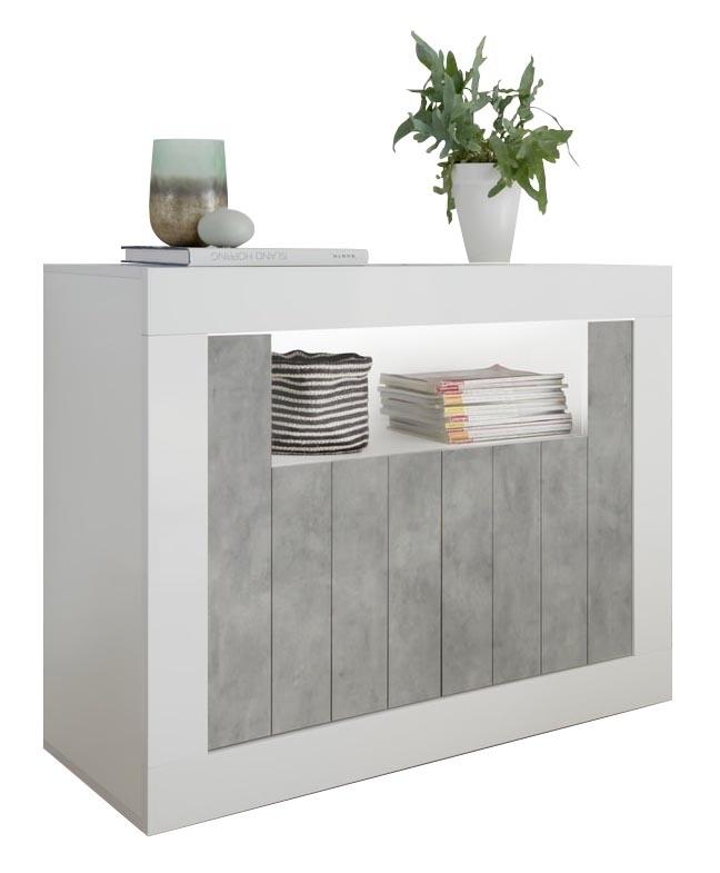 Dressoir Urbino 110 cm breed in hoogglans wit met grijs beton