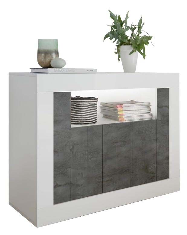 Dressoir Urbino 110 cm breed in hoogglans wit met oxid