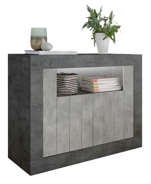 Dressoir Urbino 110 cm breed in Oxid met grijs beton