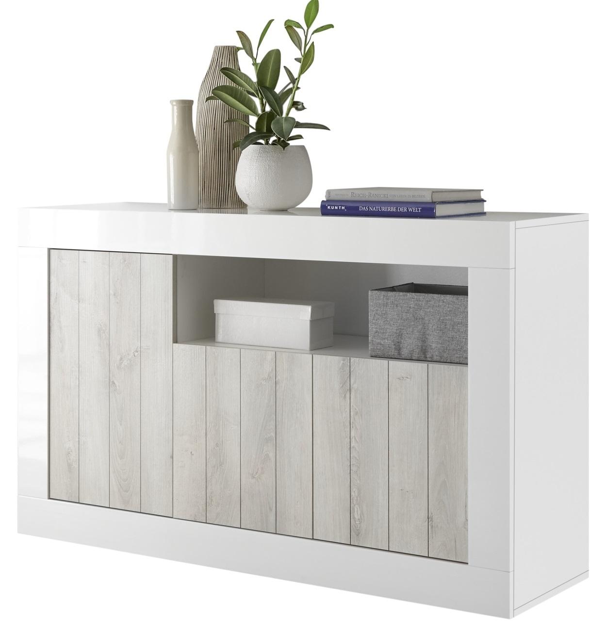 Dressoir Urbino 138 cm breed in hoogglans wit met grenen wit