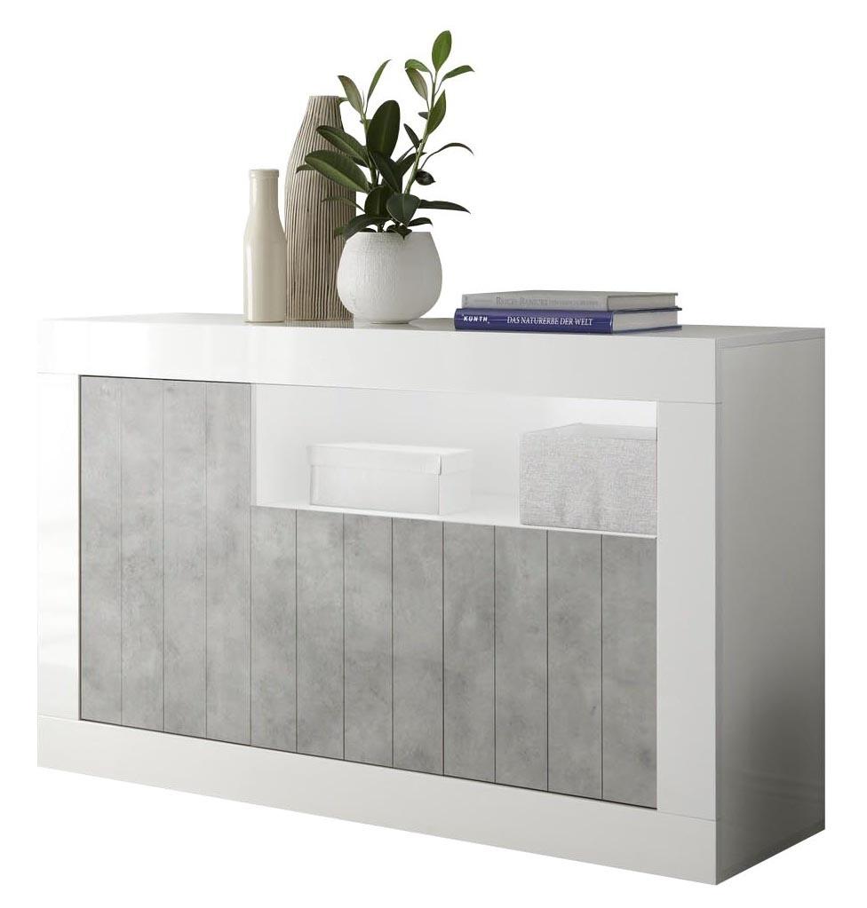 Dressoir Urbino 138 cm breed in hoogglans wit met grijs beton