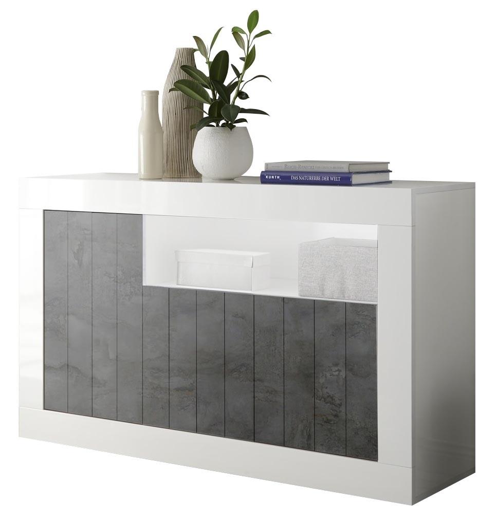 Dressoir Urbino 138 cm breed in hoogglans wit met oxid