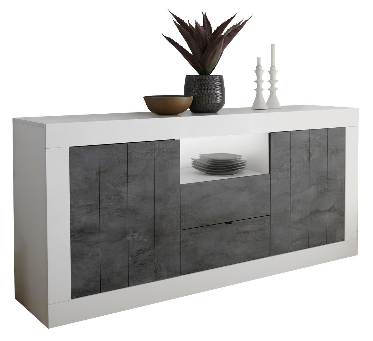 Dressoir Urbino 184 cm breed in hoogglans wit met Oxid