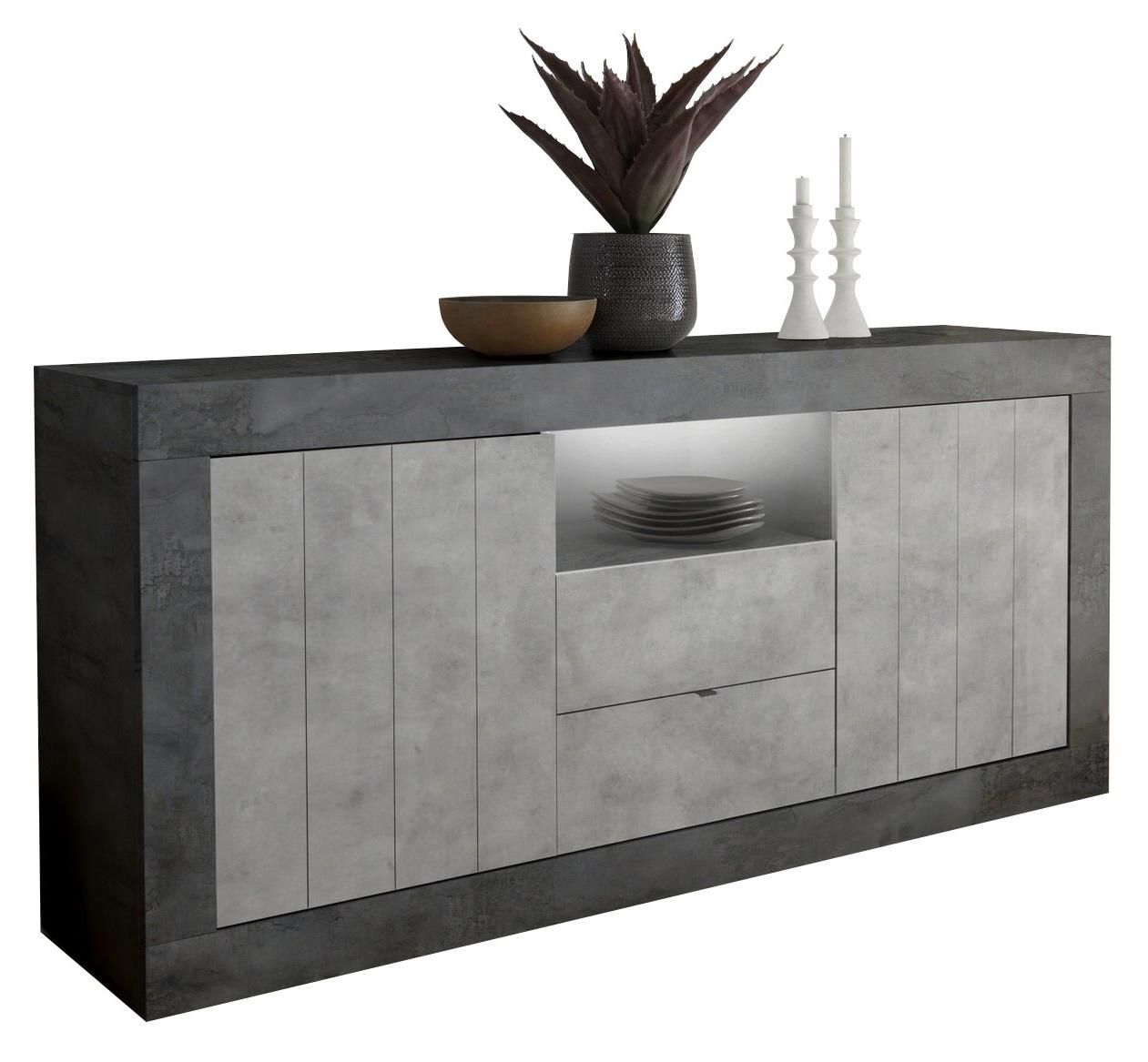 Dressoir Urbino 184 cm breed in oxid met grijs beton