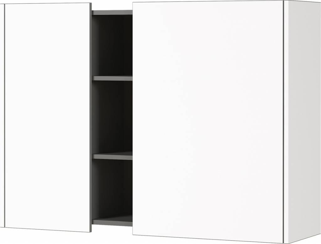 Hangkast Veluva 103 cm breed in wit met grafiet