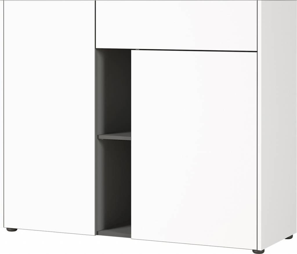 Dressoir Veluva 112 cm breed in wit met grafiet