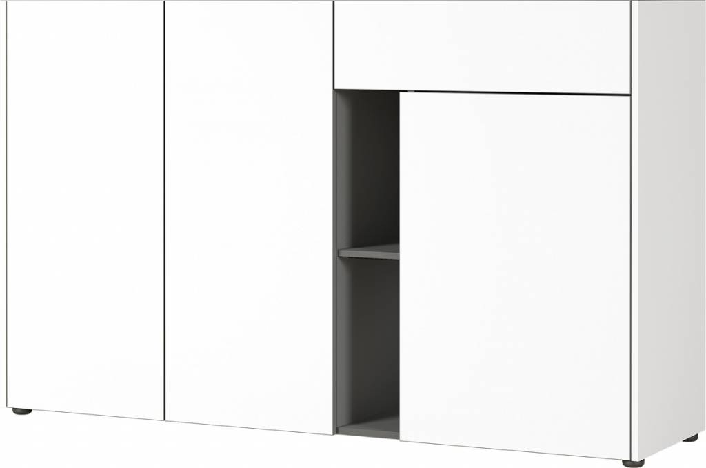 Dressoir Veluva 159 cm breed in wit met grafiet