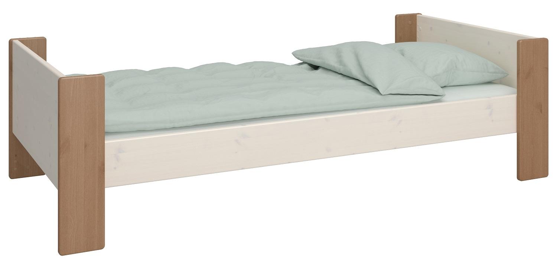 Eenpersoonsbed Kids 90x200cm in wit whitewash met steen