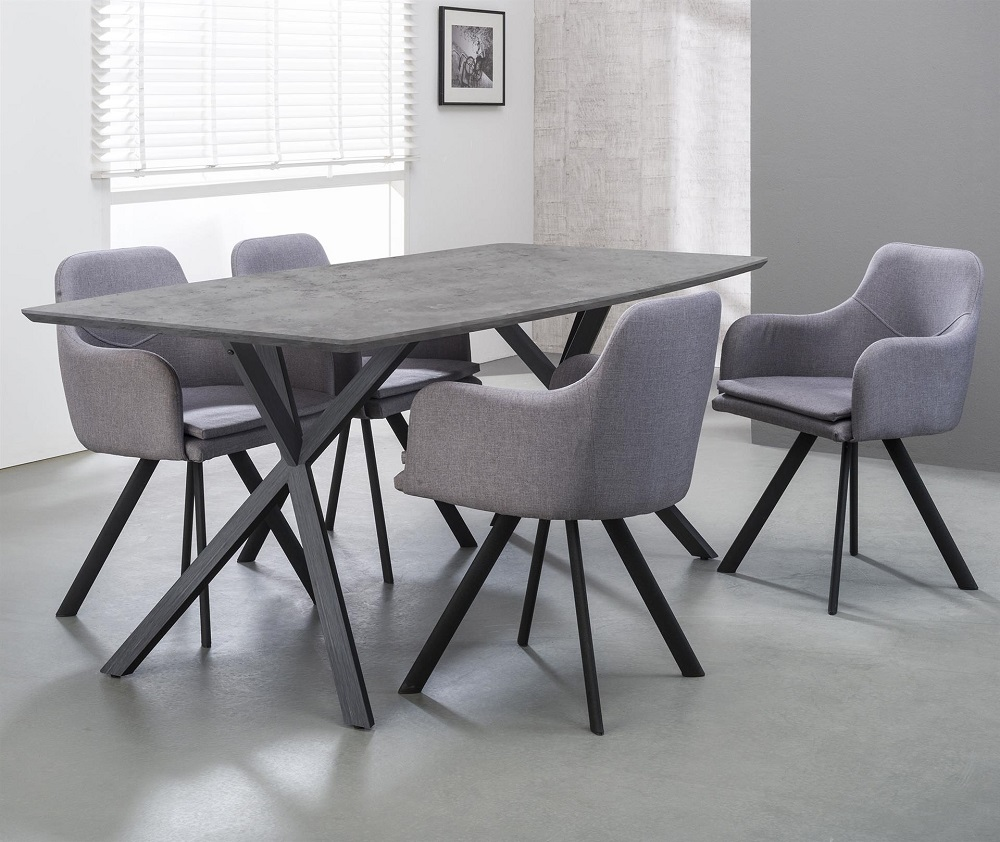 Eettafel Dayna 160 of 190 cm breed in grijs beton