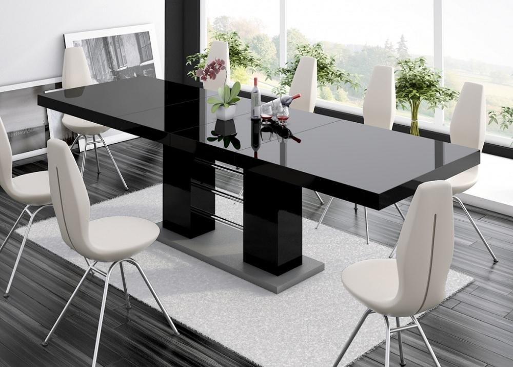 Uitschuifbare Eettafel Linosa 160 tot 260 cm breed in hoogglans zwart
