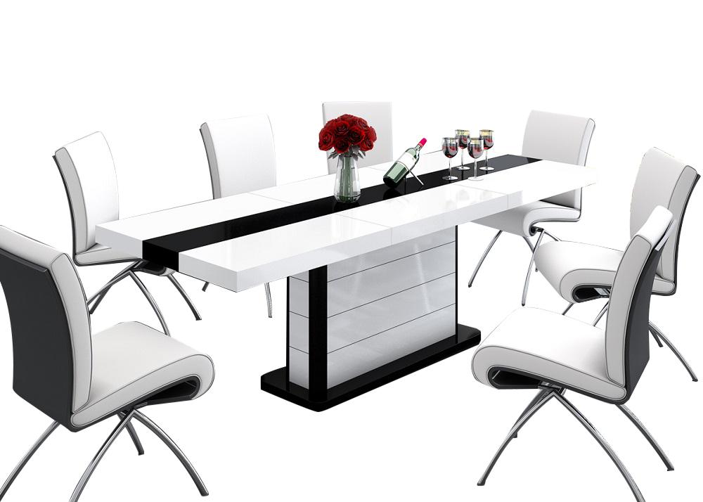 Uitschuifbare Eettafel Pianosa 160cm tot 260cm - Hoogglans Wit met Zwart