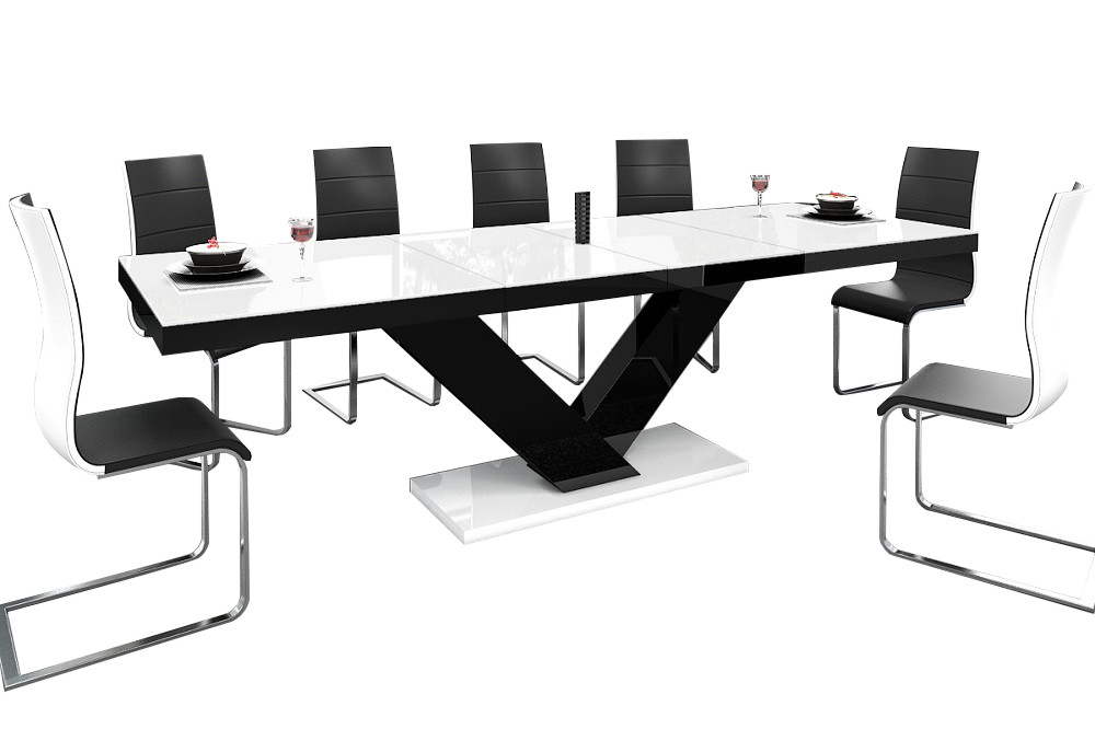 Uitschuifbare Eettafel Victoria 160cm tot 256cm - Hoogglans Wit met Zwart