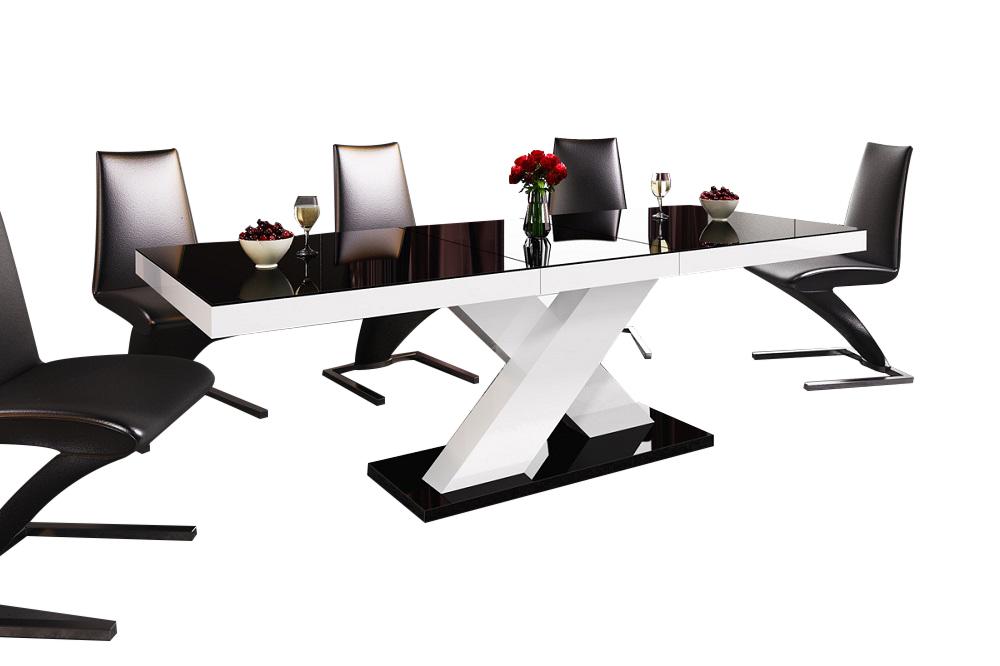 Uitschuifbare Eettafel Xenon 160cm tot 210cm - Hoogglans Zwart met wit
