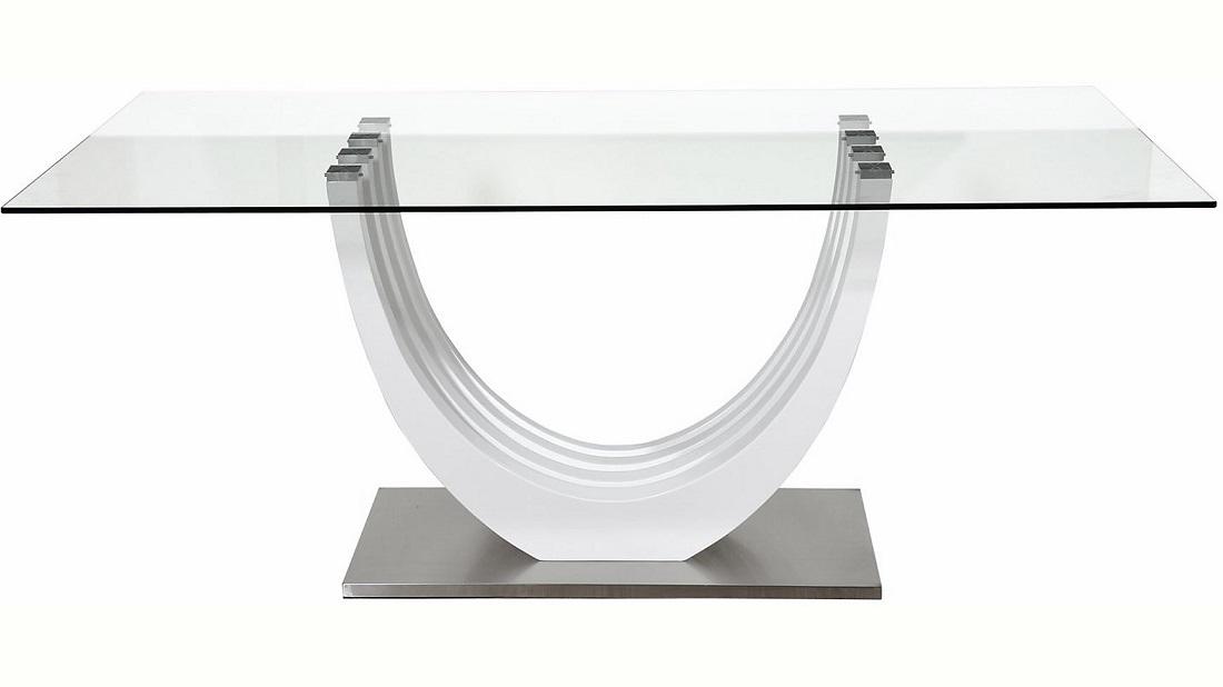 Glazen Eettafel Ovio 180 cm breed - Hoogglans Wit