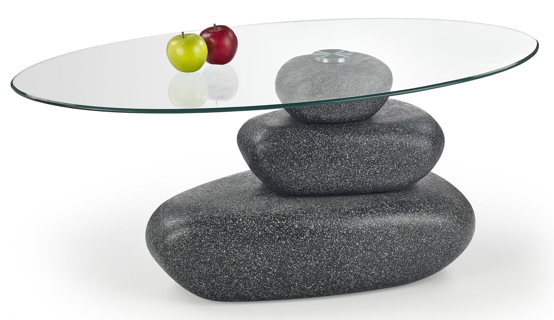 Glazen salontafel Flavia 110 cm breed in grijs