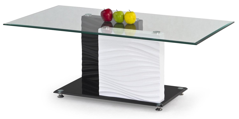 Glazen salontafel Shanel 120 cm breed wit met zwart