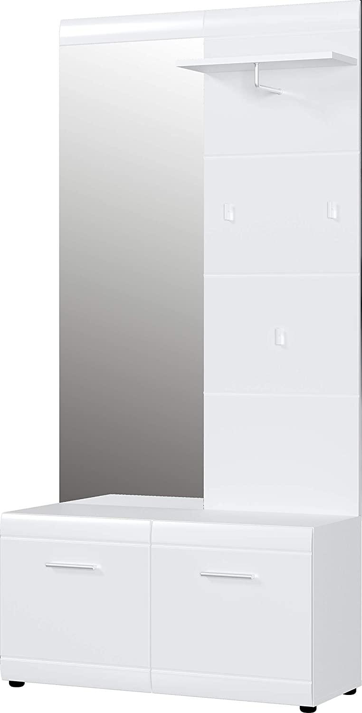 Halmeubelset Adana 195 cm hoog in hoogglans wit