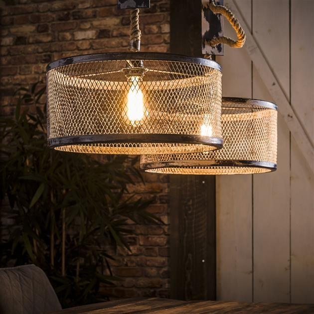 Hanglamp Cody 2LxØ40 van 100 cm breed – grijs