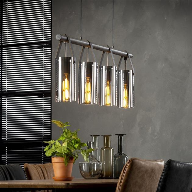 Hanglamp Denny 4L verchroomd glas 100 cm breed - Zilver