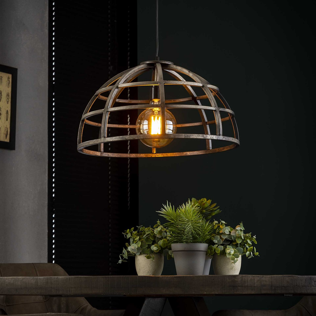 Hanglamp Dome 1xØ50 in Oud zilver