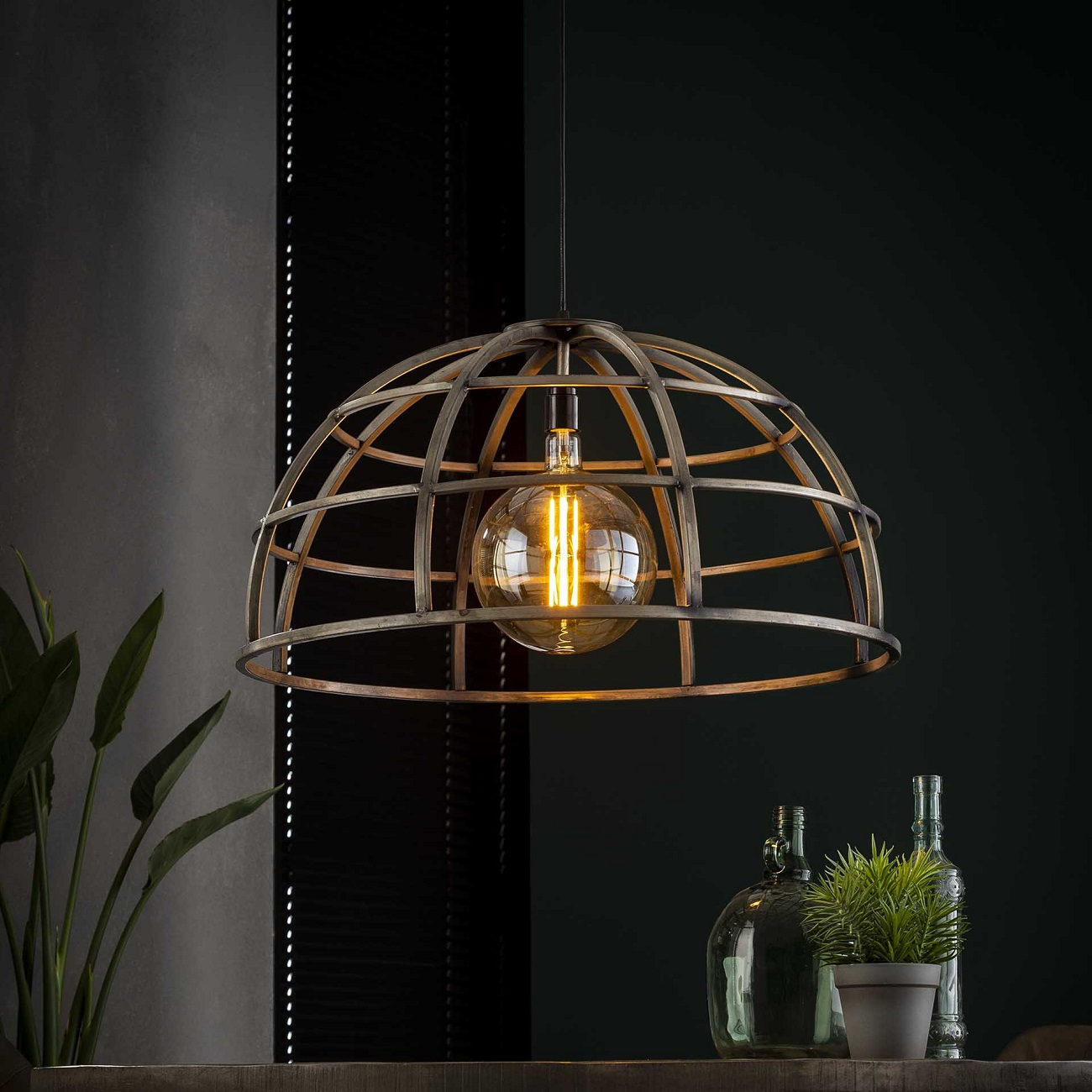 Hanglamp Dome 1xØ70 in Oud zilver