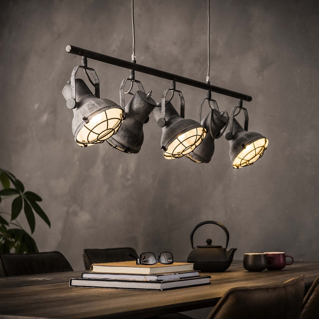 Hanglamp Feridun 5LxØ16 van 120 cm breed - Grijs