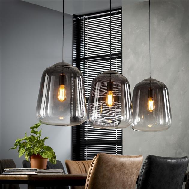Hanglamp Gottfried 3L verchroomd glas 135 cm breed - Zilver
