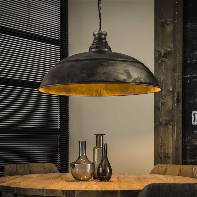 Hanglamp industry 1LxØ80 van 80 cm breed - Oud zilver
