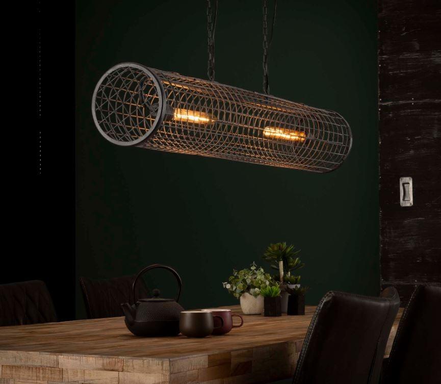 Hanglamp kooi 121 cm breed in slate grijs