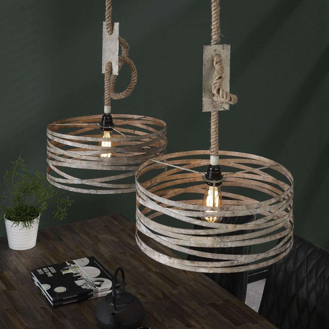 Hanglamp Martin 2xØ40 van 150 cm hoog in verweerd zink