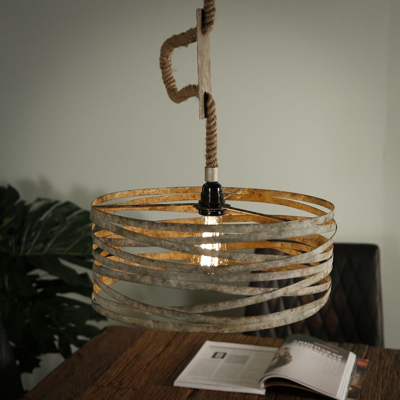 Hanglamp Martin Ø40 van 150 cm hoog in verweerd zink