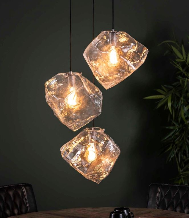 Hanglamp Rock glas Trio 150 cm hoog