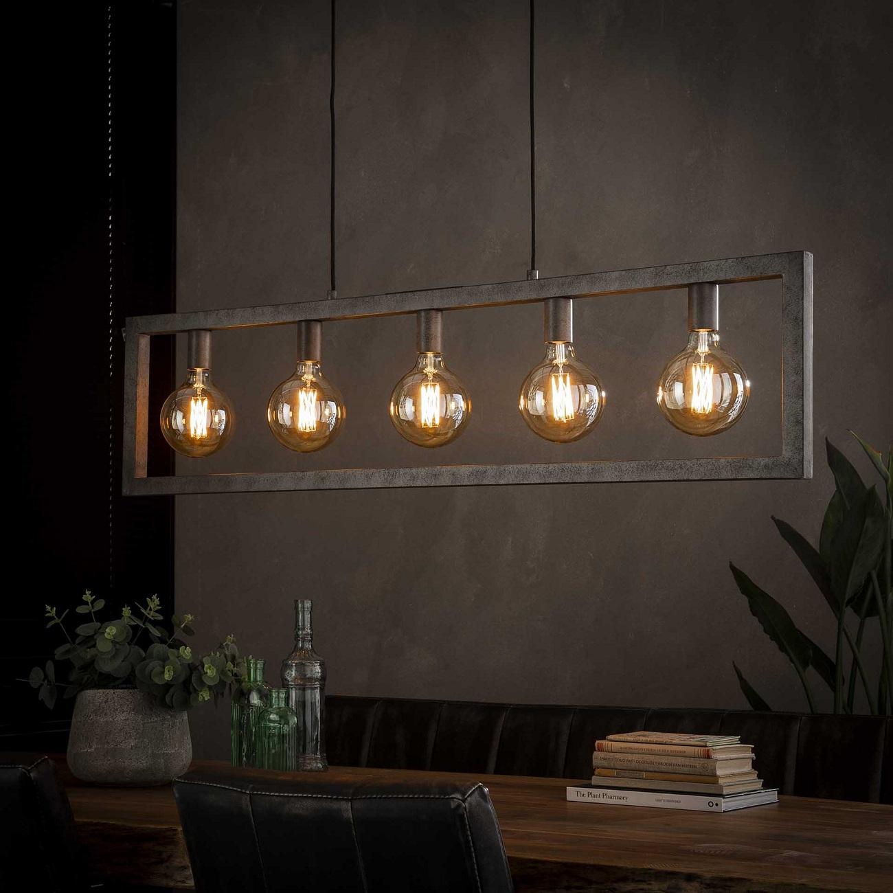 Hanglamp Steps 120 cm breed in oud zilver