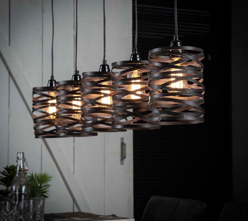 Hanglamp Twister 117 cm breed in slate grijs